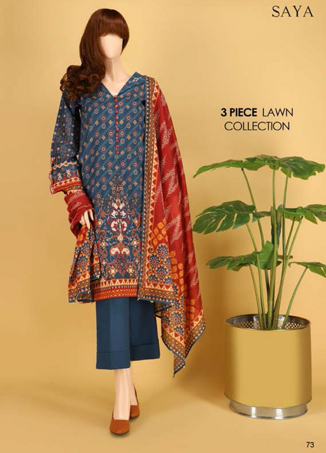 Saya Embroidered Lawn Suits Unstitched 3 Piece SY21SS LINEAR GEOMETRY (UG-2023-06A) - Spring / Summer Collection