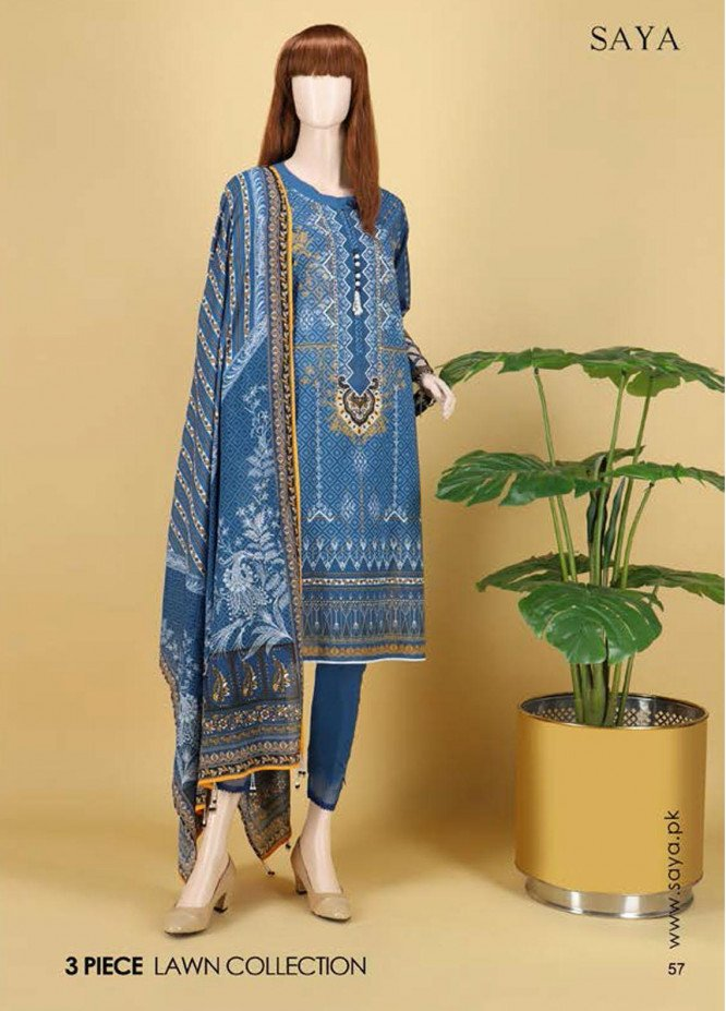 Saya Embroidered Lawn Suits Unstitched 3 Piece SY21SS MEADOWS (UB-2101-17B) - Spring / Summer Collection