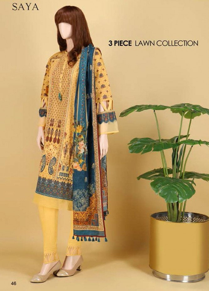 Saya Embroidered Lawn Suits Unstitched 3 Piece SY21SS MORNING HAZE (UB-2101-16A) - Spring / Summer Collection