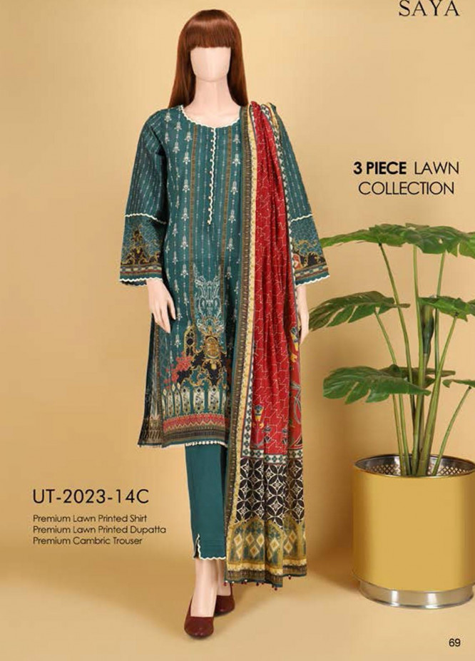 Saya Embroidered Lawn Suits Unstitched 3 Piece SY21SS NIGHT LIGHT (UT-2023-14C) - Spring / Summer Collection