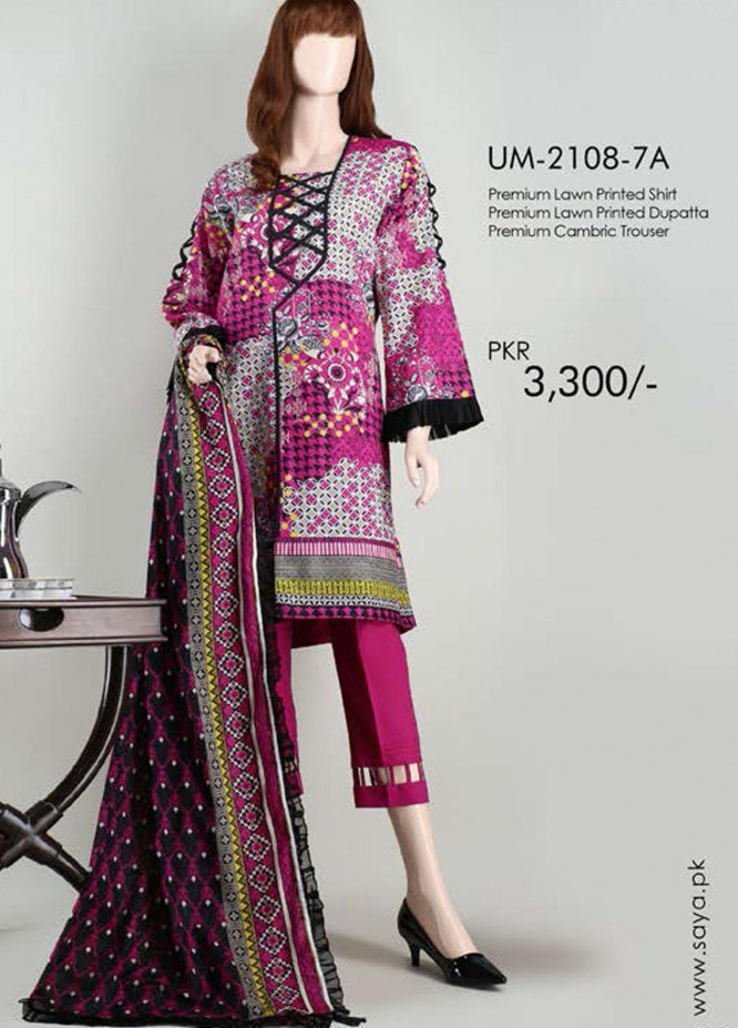 Saya Embroidered Lawn Suits Unstitched 3 Piece SY21SS NOOREH (UM-2108-7A) - Spring / Summer Collection