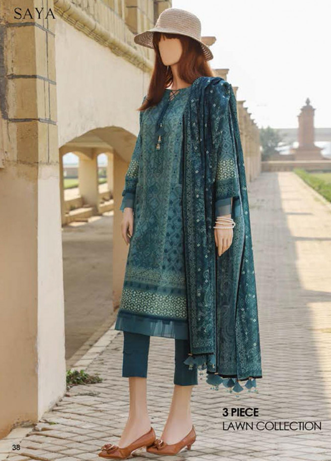 Saya Embroidered Lawn Suits Unstitched 3 Piece SY21SS NOSTALGIC MOTION (UG-2101-12C) - Spring / Summer Collection