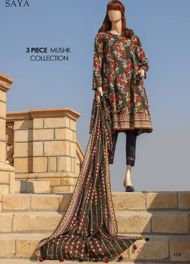 Saya Embroidered Lawn Suits Unstitched 3 Piece SY21SS OUD (UB-2108-4B) - Spring / Summer Collection