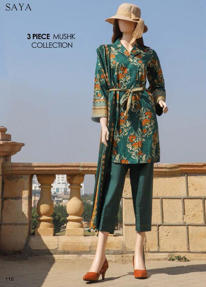 Saya Embroidered Lawn Suits Unstitched 3 Piece SY21SS OUD (UG-2108-4A) - Spring / Summer Collection