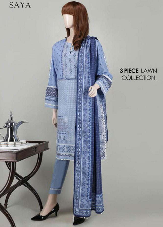 Saya Embroidered Lawn Suits Unstitched 3 Piece SY21SS POWDER PEARL (UB-2023-08D) - Spring / Summer Collection
