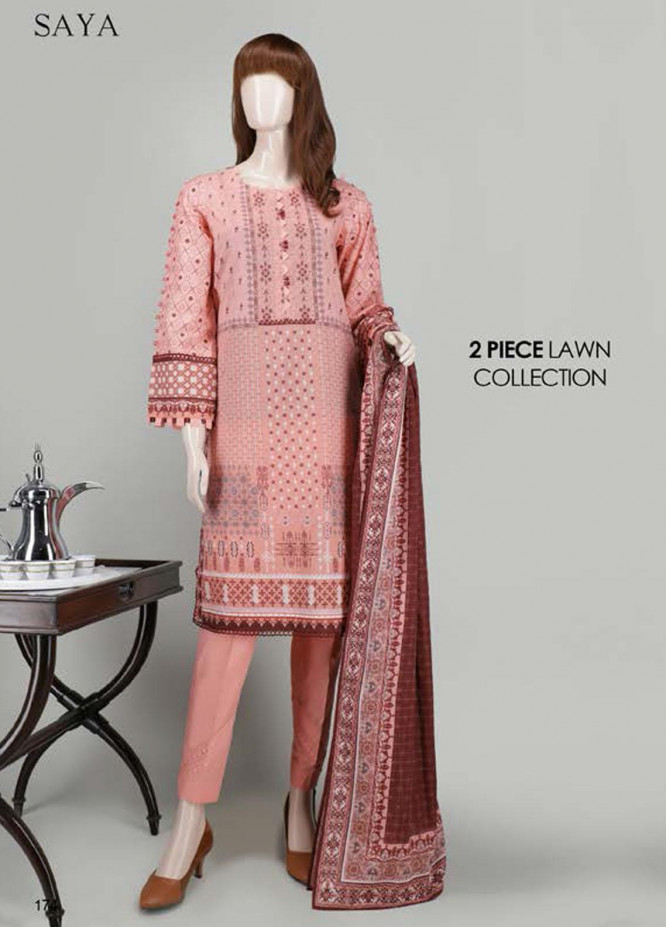 Saya Embroidered Lawn Suits Unstitched 2 Piece SY21SS POWDER PEARL (UP-2023-08A) - Spring / Summer Collection