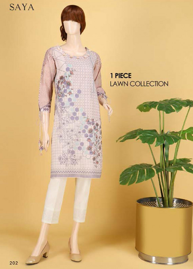Saya Embroidered Lawn  Unstitched Kurties SY21SS RAZZLE DAZZLE (UP-2103-08B) - Spring / Summer Collection