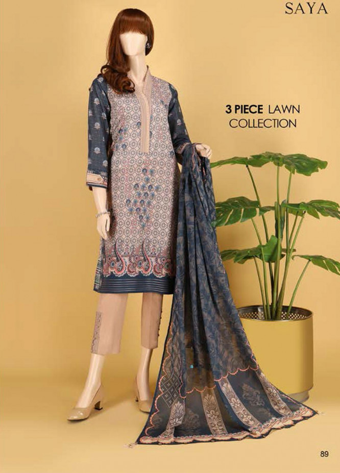 Saya Embroidered Lawn Suits Unstitched 3 Piece SY21SS RHYTHM (UG-2023-11A) - Spring / Summer Collection