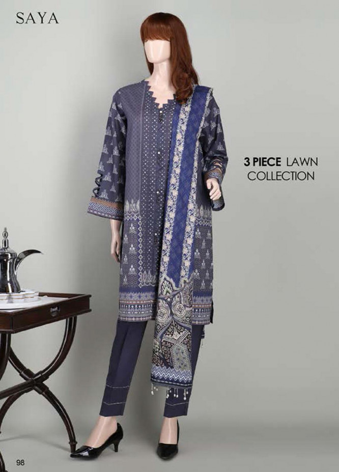 Saya Embroidered Lawn Suits Unstitched 3 Piece SY21SS SHOOTING STAR (UB-2023-15E) - Spring / Summer Collection