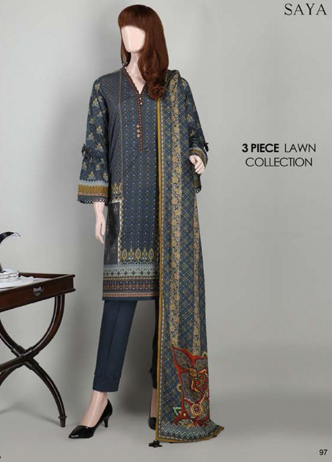 Saya Embroidered Lawn Suits Unstitched 3 Piece SY21SS SHOOTING STAR (UB-2023-15D) - Spring / Summer Collection