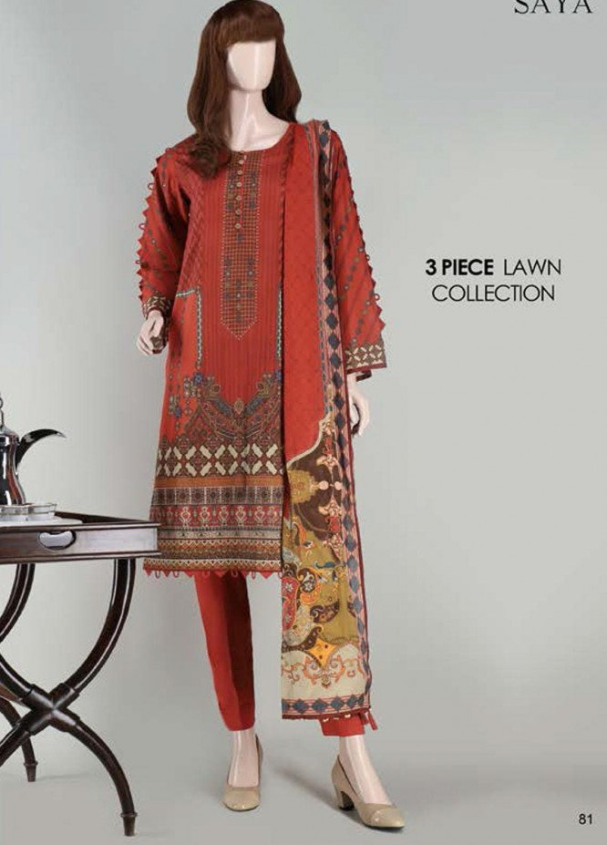 Saya Embroidered Lawn Suits Unstitched 3 Piece SY21SS SYMMETRICAL BRICKS (UR-2023-04C) - Spring / Summer Collection