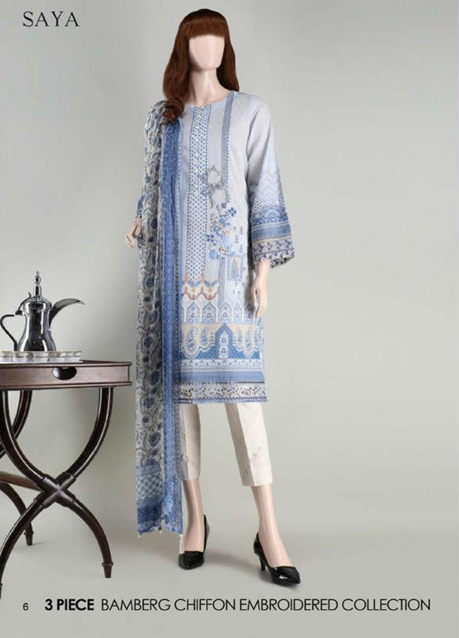Saya Embroidered Lawn Suits Unstitched 3 Piece SY21SS CASHMERE (UB-2101-24A) - Spring / Summer Collection