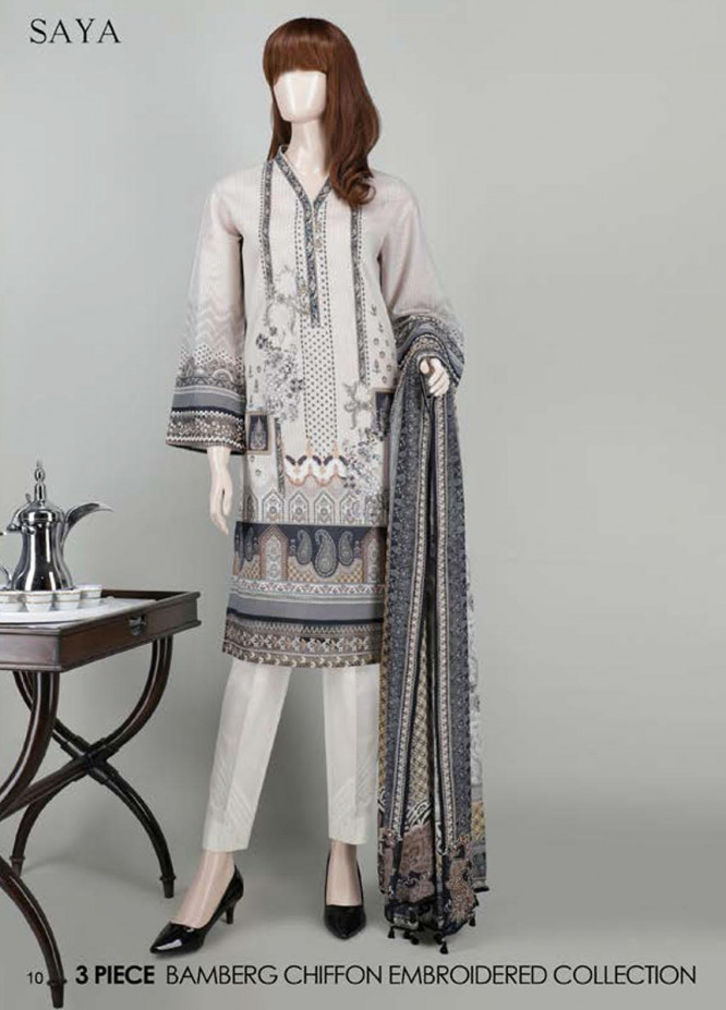 Saya Embroidered Lawn Suits Unstitched 3 Piece SY21SS CASHMERE (UB-2101-24C) - Spring / Summer Collection