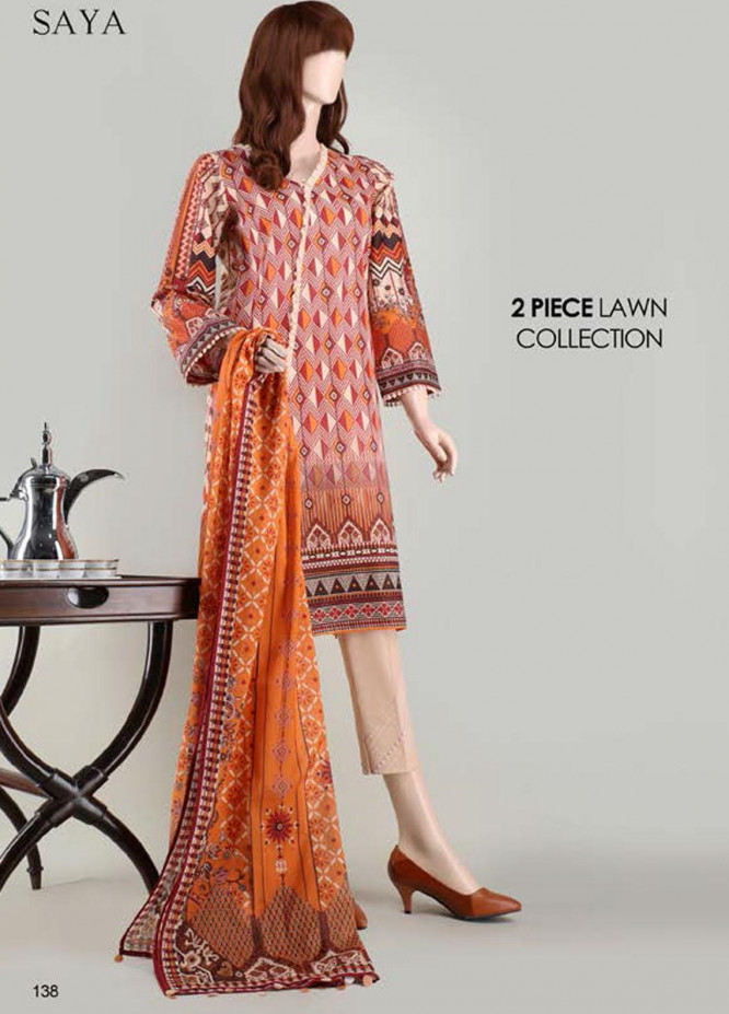 Saya Embroidered Lawn Suits Unstitched 2 Piece SY21SS INDULGENCE (UP-2023-07C) - Spring / Summer Collection
