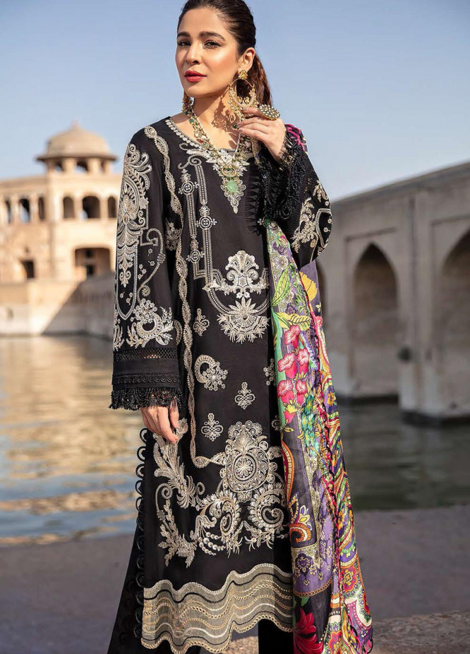 Seran Embroidered Lawn Suits Unstitched 3 Piece SRN21L 01-Mystic Dream - Luxury Collection