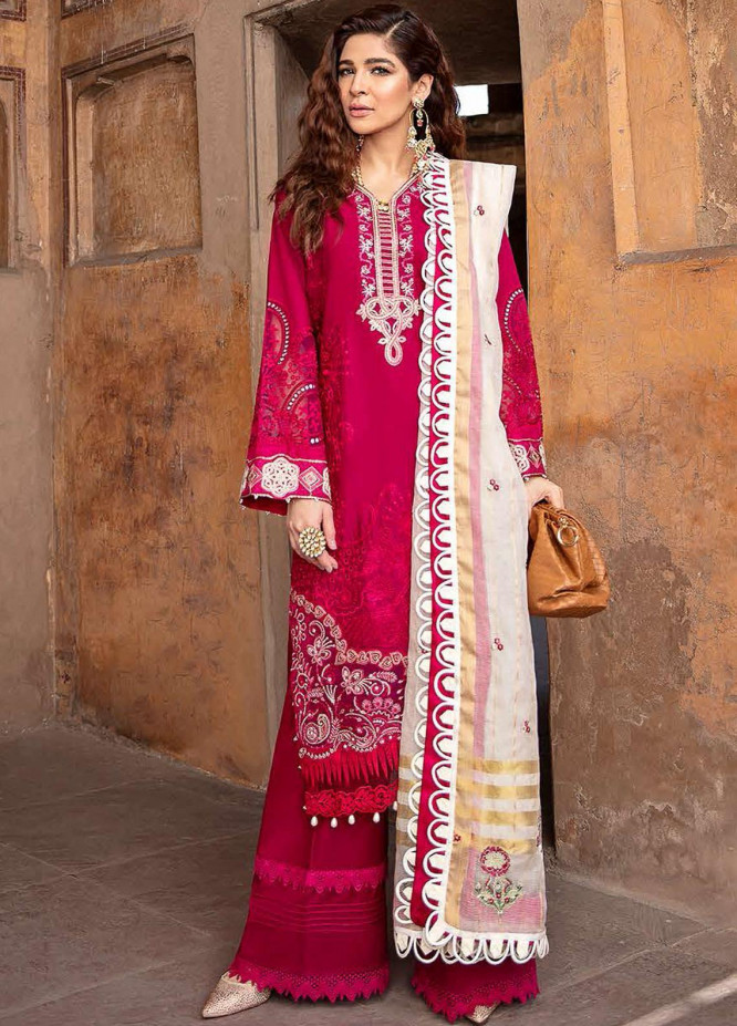 Seran Embroidered Lawn Suits Unstitched 3 Piece SRN21L 05-Majestic Magenta - Luxury Collection