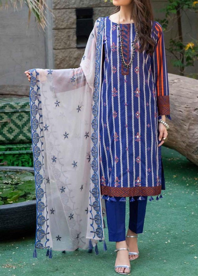 Shades Of Summer By Salitex Embroidered Lawn Suits Unstitched 3 Piece ST21SF 00696B - Festive Collection