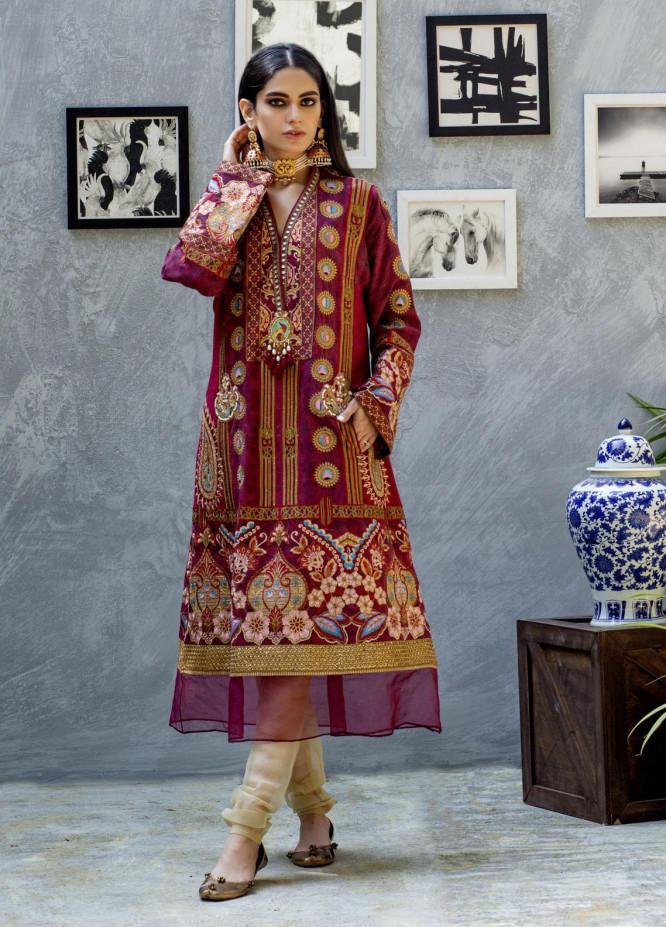 Shamaeel Ansari Luxury Pret  Silk Shirt SW-Ethnic Mharoon