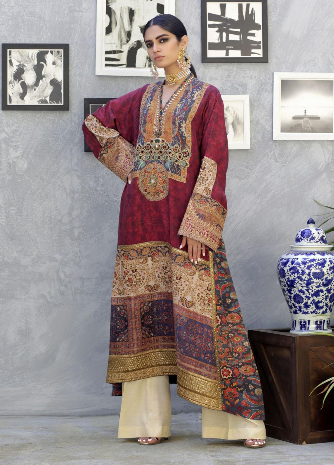 Shamaeel Ansari Luxury Pret  Silk Shirt SW-NV 2