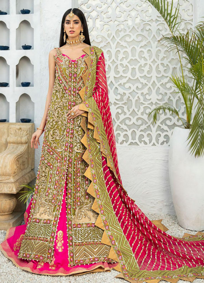 Shamrock Embroidered Net Suits Unstitched 3 Piece SRK21P 04 Olive Stretch - Luxury Collection