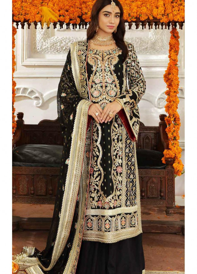 Shamrock Premium Embroidered Chiffon Suits Unstitched 3 Piece SRK21RP SFD0056 Luxe - Luxury Formals Collection