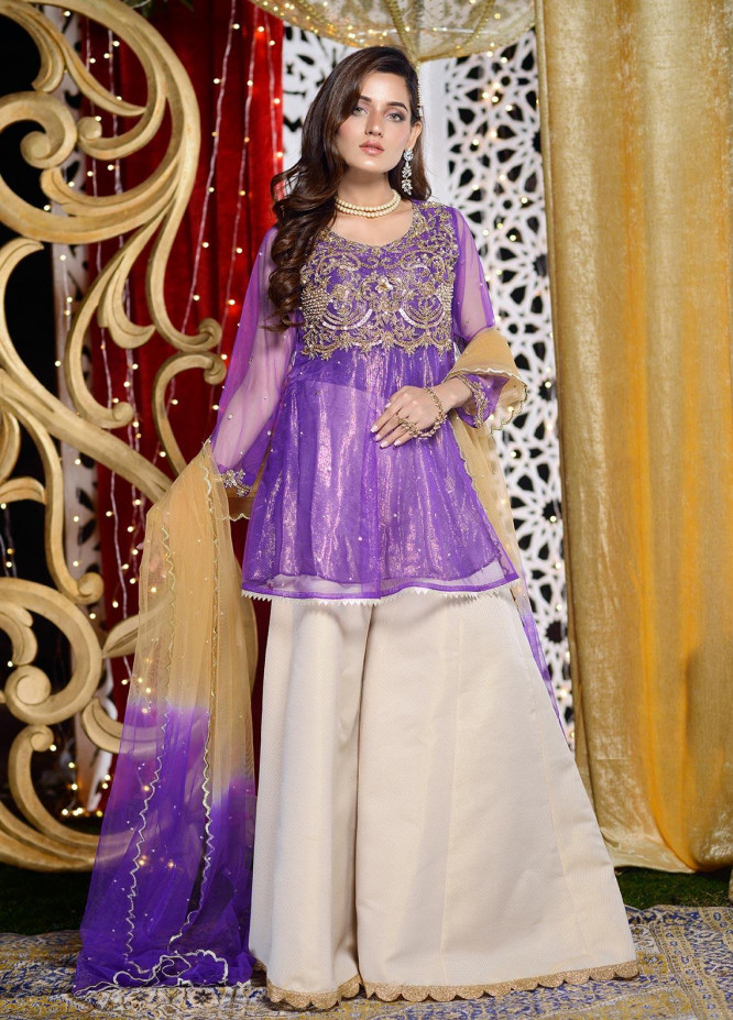 Shibori Embroidered Net Stitched 3 Piece Suit FW07