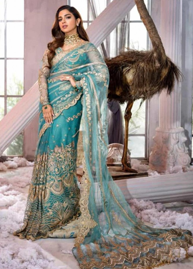 Shiza Hassan Embroidered Net Unstitched Saree SH21LF 04 Enchantress - Luxury Collection
