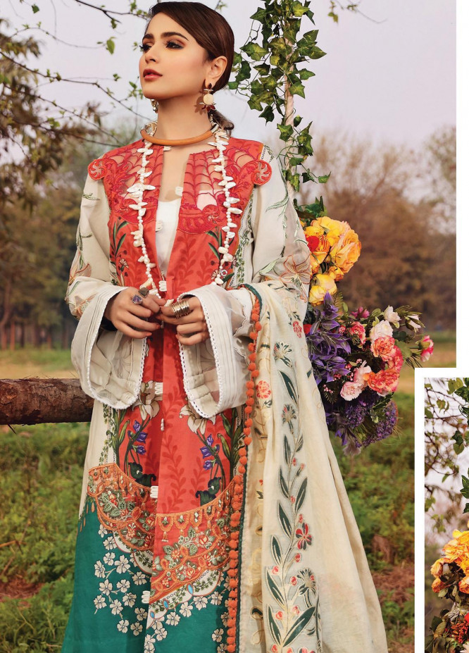 Shiza Hassan Embroidered Lawn Unstitched 3 Piece Suit SH20L 4-A LILLY SYMPHONY - Luxury Collection