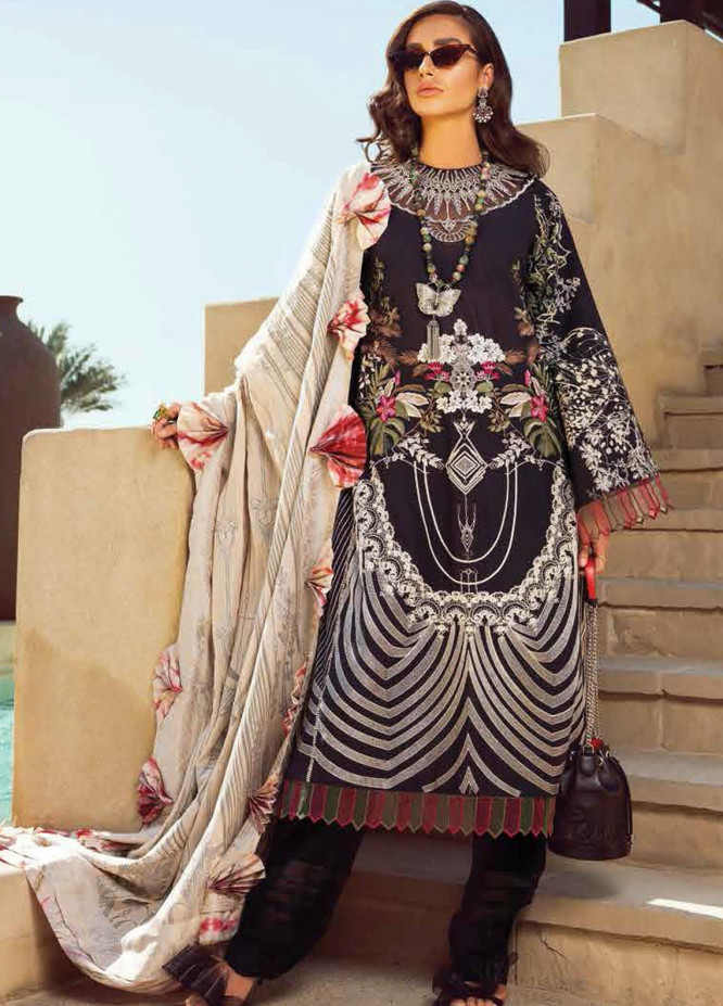 Shiza Hassan Embroidered Lawn Suits Unstitched 3 Piece SH21LL 08-B MAAHRU - Luxury Collection