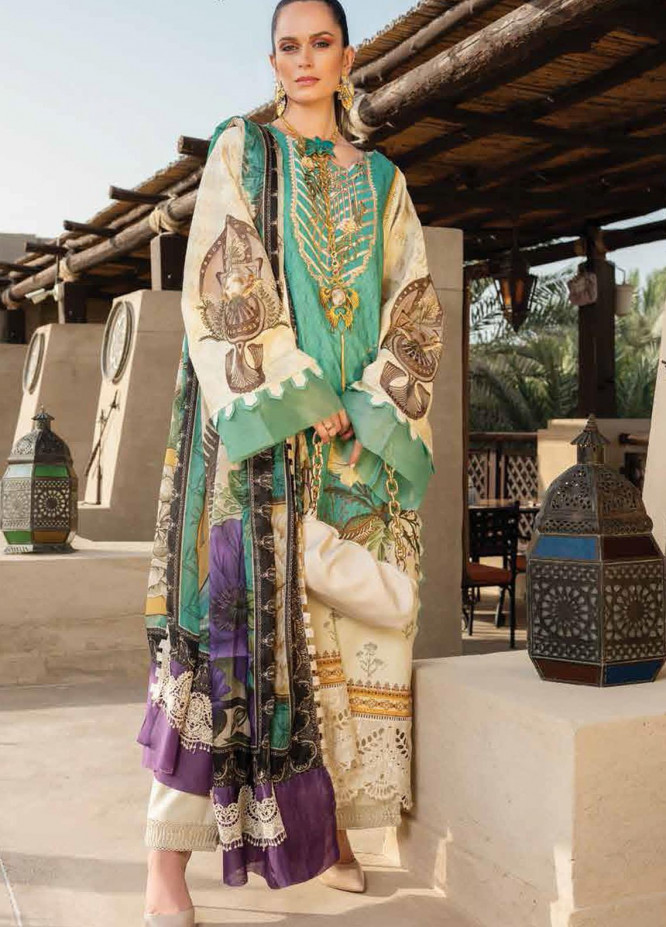 Shiza Hassan Embroidered Lawn Suits Unstitched 3 Piece SH21LL 10-A LIYANA - Luxury Collection