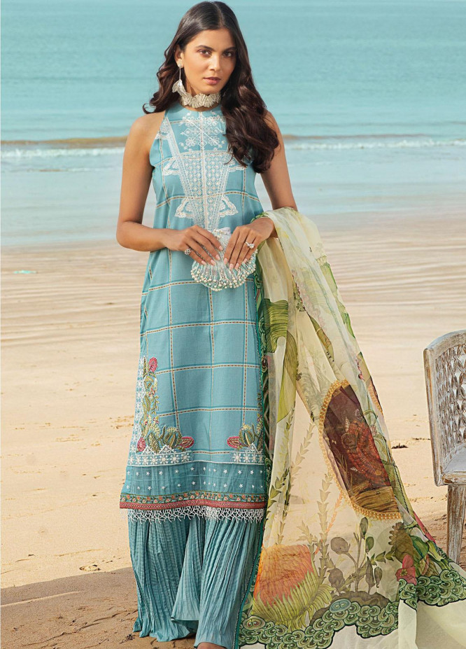 Shurooq Embroidered Lawn Suits Unstitched 3 Piece SHQ21L SL-01-01 Aabpara - Summer Collection