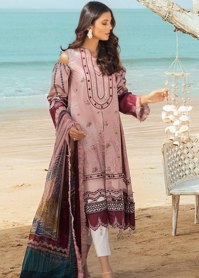 Shurooq Embroidered Lawn Suits Unstitched 3 Piece SHQ21L SL-01-02 Miksaal - Summer Collection