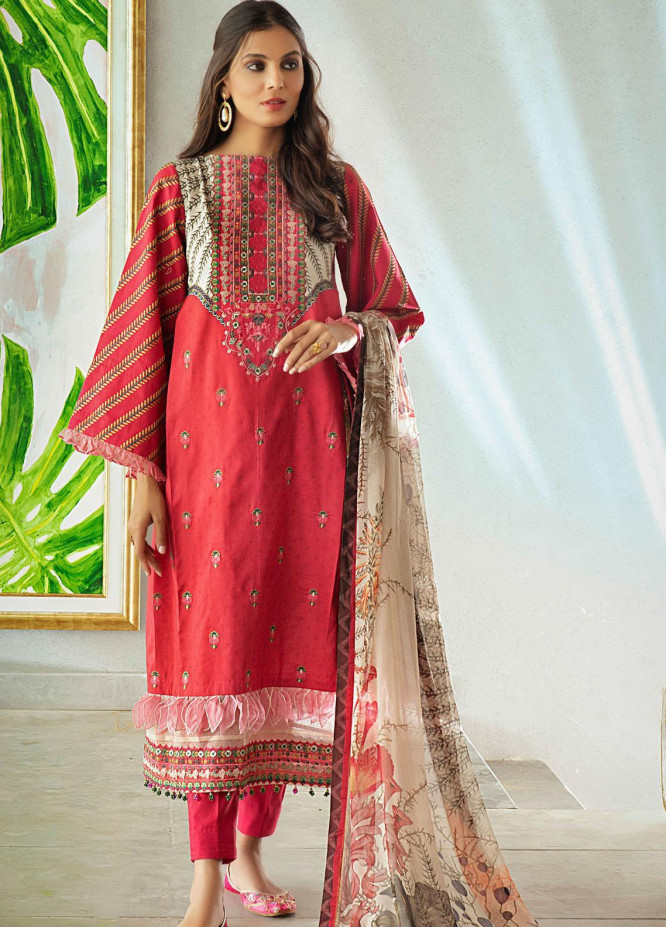 Shurooq Embroidered Lawn Suits Unstitched 3 Piece SHQ21L SL-01-05 Marjaan - Summer Collection