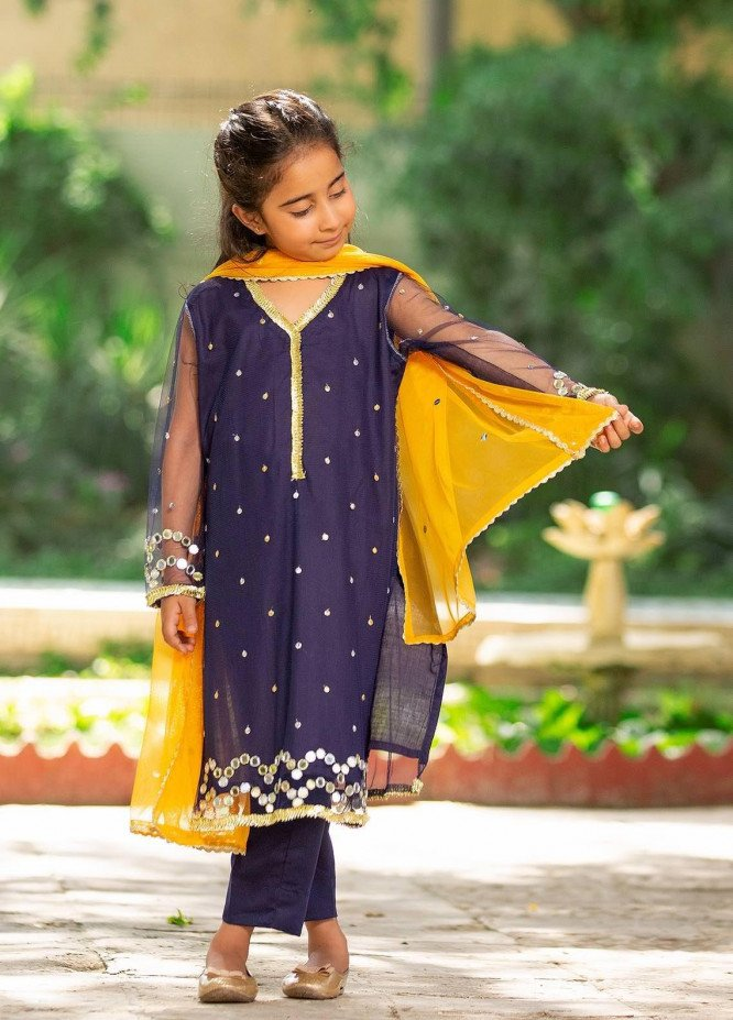 Sidra Mumtaz Net Embroidered 3 Piece Suit for Girls -  2103-S6K-ML Midnight Light (K)