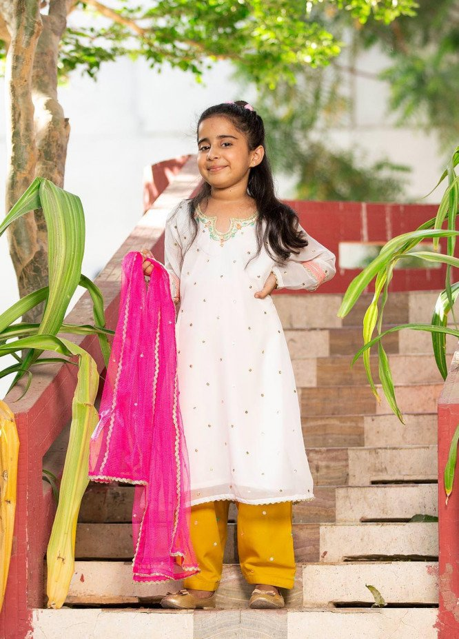 Sidra Mumtaz Chiffon Embroidered Girls 3 Piece Suit -  2103-S9K-PS Popstick (K)