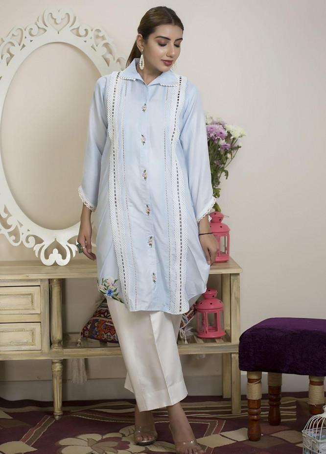 Sidra Mumtaz Luxury Pret  Cotton Silk 2 Piece Suit Skyline