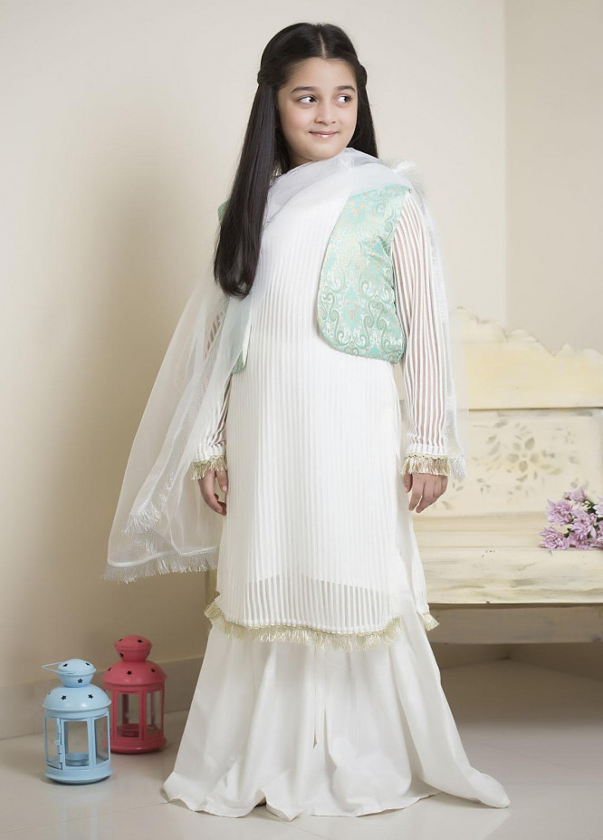 Sidra Mumtaz Luxury Pret  Chiffon 3 Piece Suit Deep Sea (Kids)