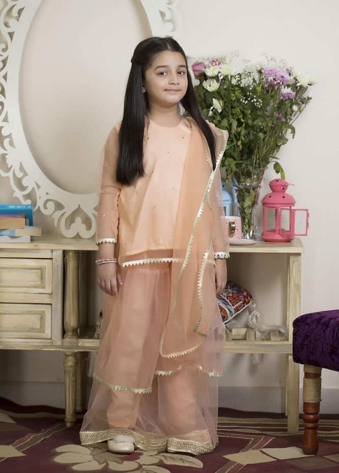 Sidra Mumtaz Luxury Pret  Net 3 Piece Suit Limelight Peach -Kids