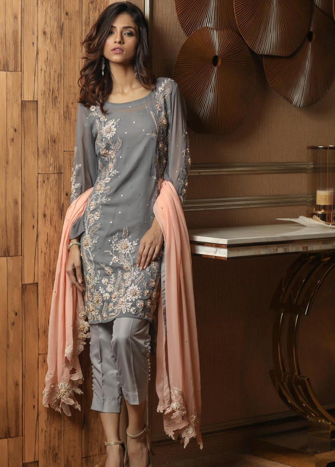Sidra Mumtaz Embroidered Chiffon Stitched 3 Piece Suit E-SD01-1705-STAR DUST