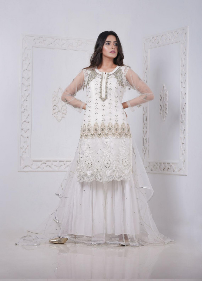 Sidra Mumtaz Embroidered Net Stitched 3 Piece Suit DOVE