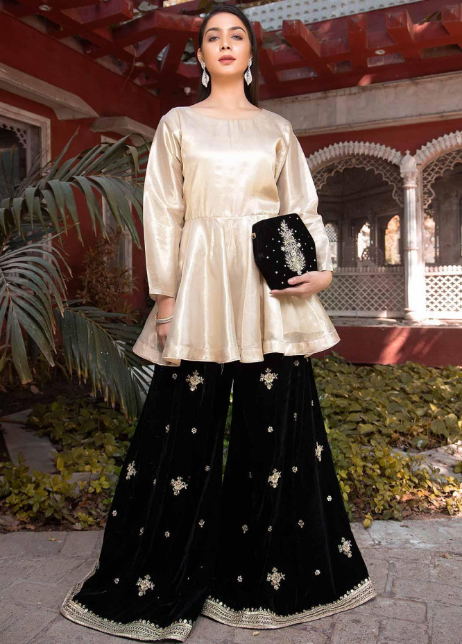 Sidra Mumtaz Embroidered Organza Stitched 2 Piece Suit SM20GS 2101-GM-06 BLACK STAR DIOPSIDE