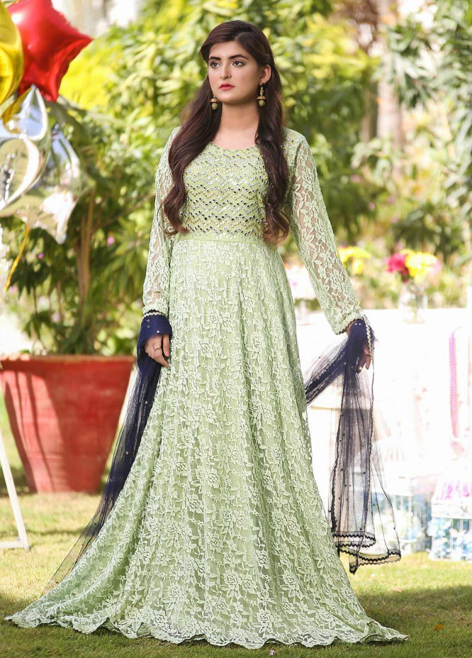 Sidra Mumtaz Embroidered Net Stitched 3 Piece Suit Menthol