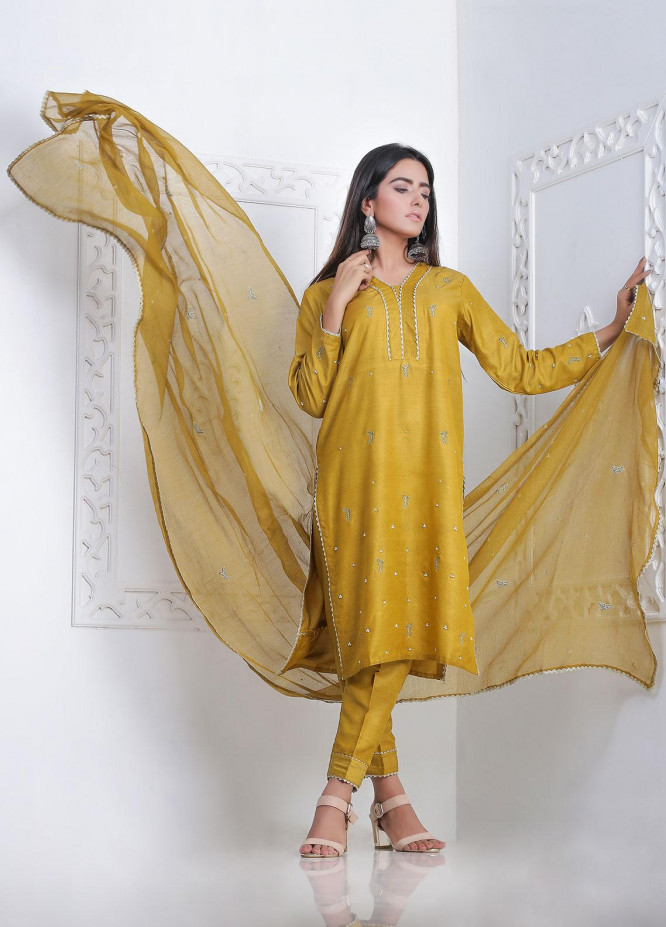 Sidra Mumtaz Embroidered Cotton Silk Stitched 3 Piece Suit MEHRY