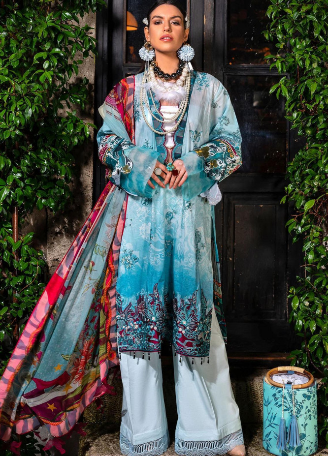 Sifa Embroidered Lawn Suits Unstitched 3 Piece SF21L SL-05-B CARIBBEAN INFLORENCE - Summer Collection