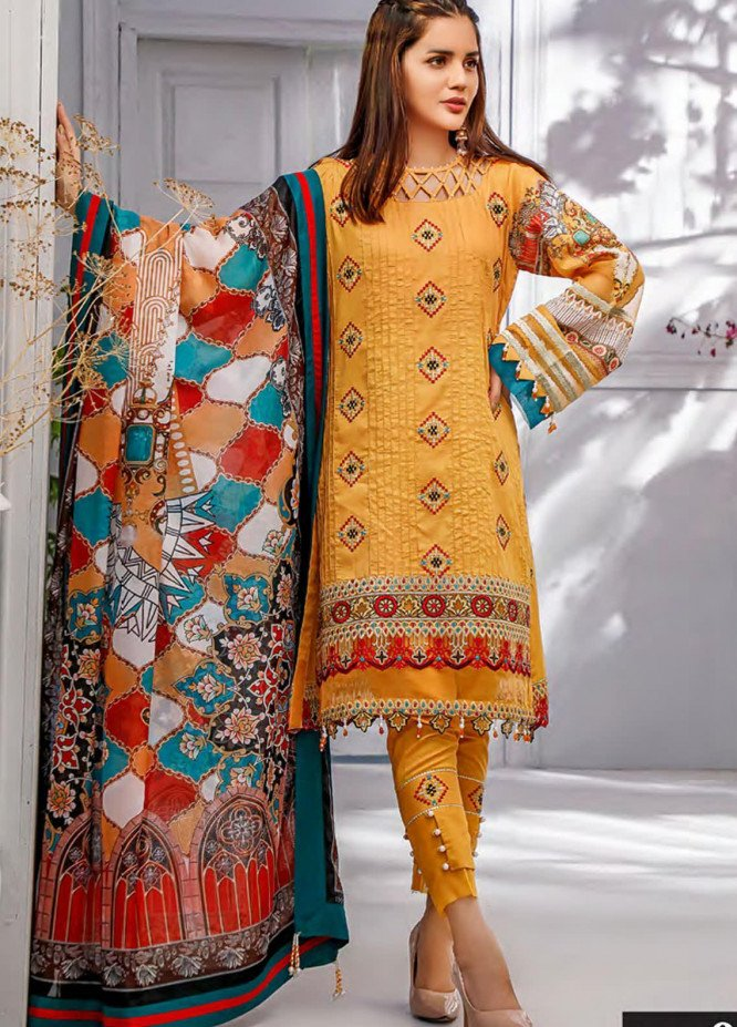 Sifona Embroidered Lawn Unstitched 3 Piece Suit SF20MJ SLL-08 - Luxury Collection