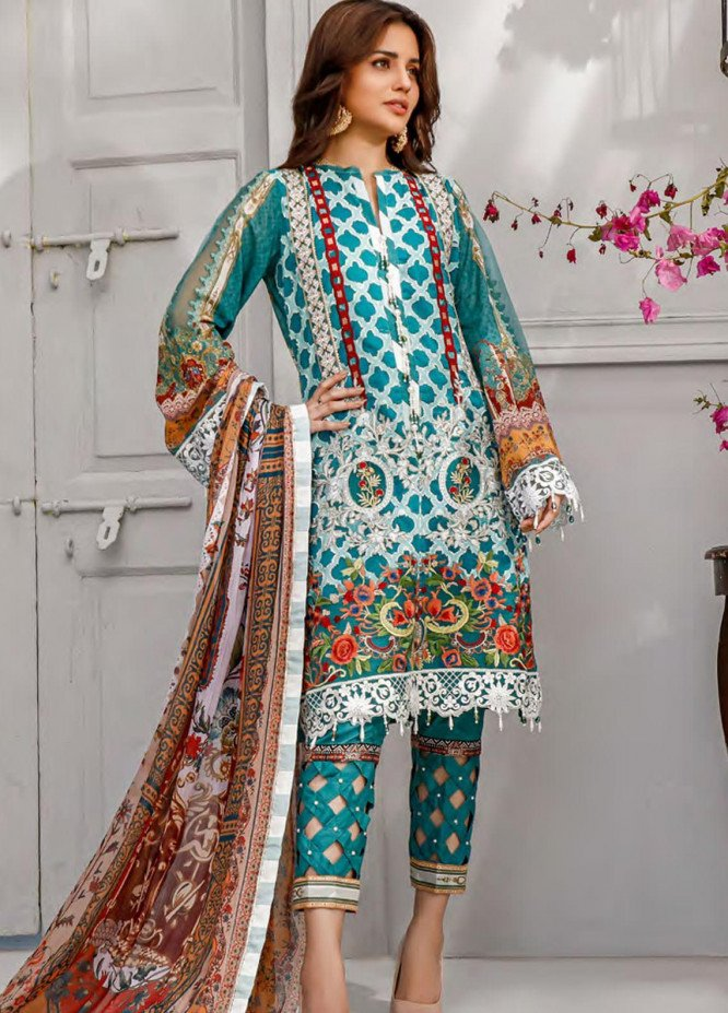 Sifona Embroidered Lawn Unstitched 3 Piece Suit SF20MJ SLL-11 - Luxury Collection