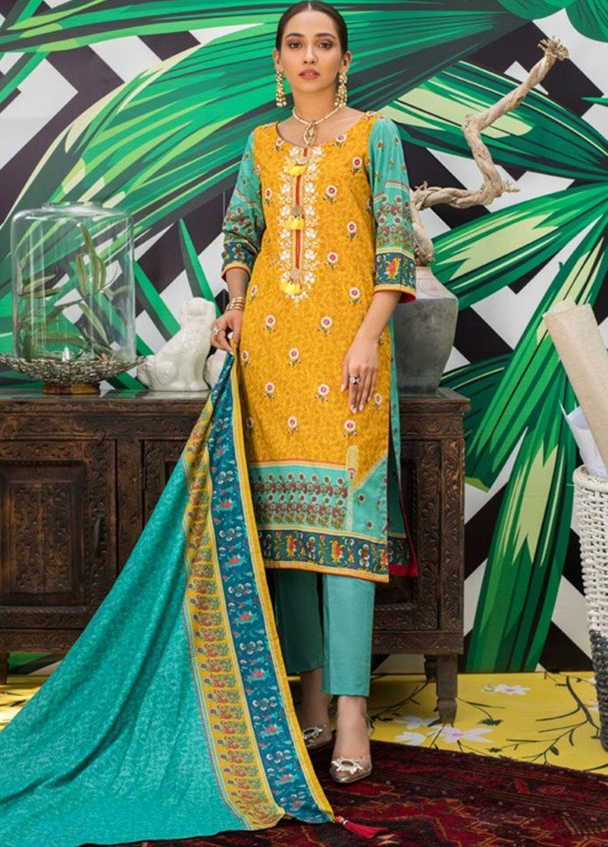 Signature Icon by ZS Textile Embroidered Lawn Unstitched 3 Piece Suit ZS20F D-03 - Spring / Summer Collection