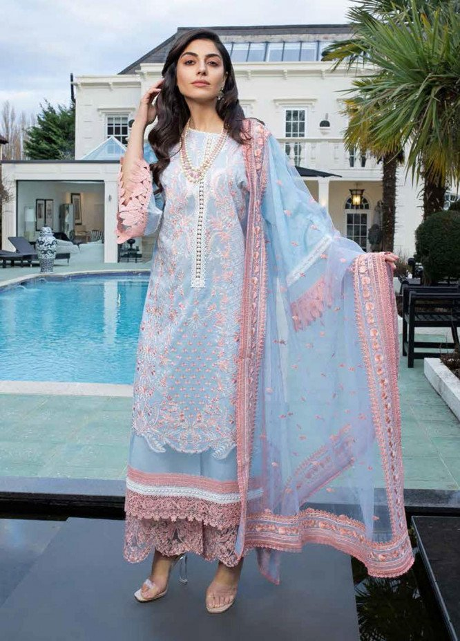 Sobia Nazir Embroidered Lawn Suits Unstitched 3 Piece SN21L 12A - Luxury Collection