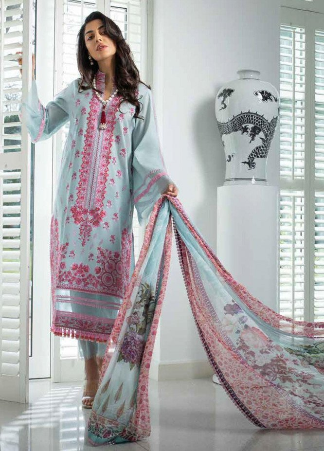 Sobia Nazir Embroidered Lawn Suits Unstitched 3 Piece SN21L 5B - Luxury Collection