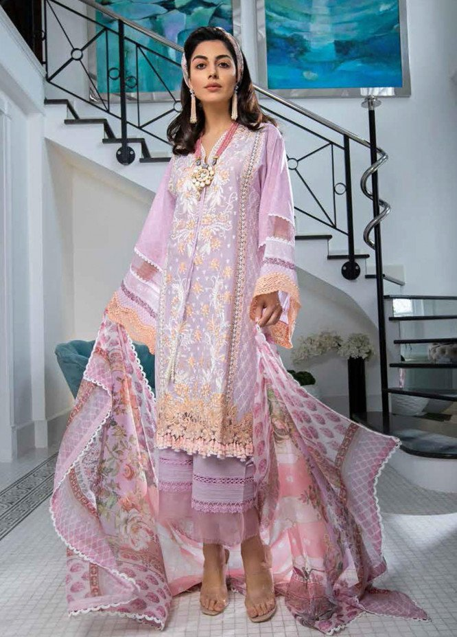 Sobia Nazir Embroidered Lawn Suits Unstitched 3 Piece SN21L 7B - Luxury Collection